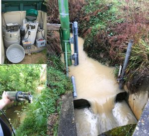 Exutoire du bassin versant (station de jaugeage, sonde multiparamètre, préleveurs automatiques, pièges à sediments)