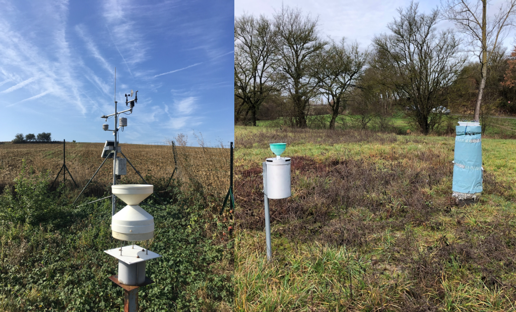 Station météorologique et collecteur de précipitations pour l'analyse chimique et isotopique (réseau RENOIR)