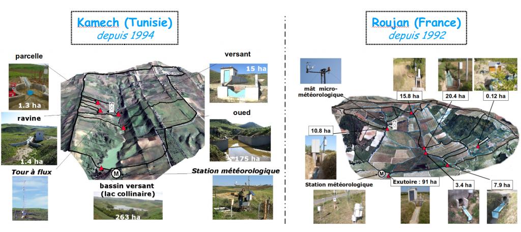 Vue aérienne des bassins versants de Kamech (Tunisie) et de Roujan (France) de l'observatoire OMERE, avec des zooms sur les principaux dispositifs et équipements de mesure et d'observation.