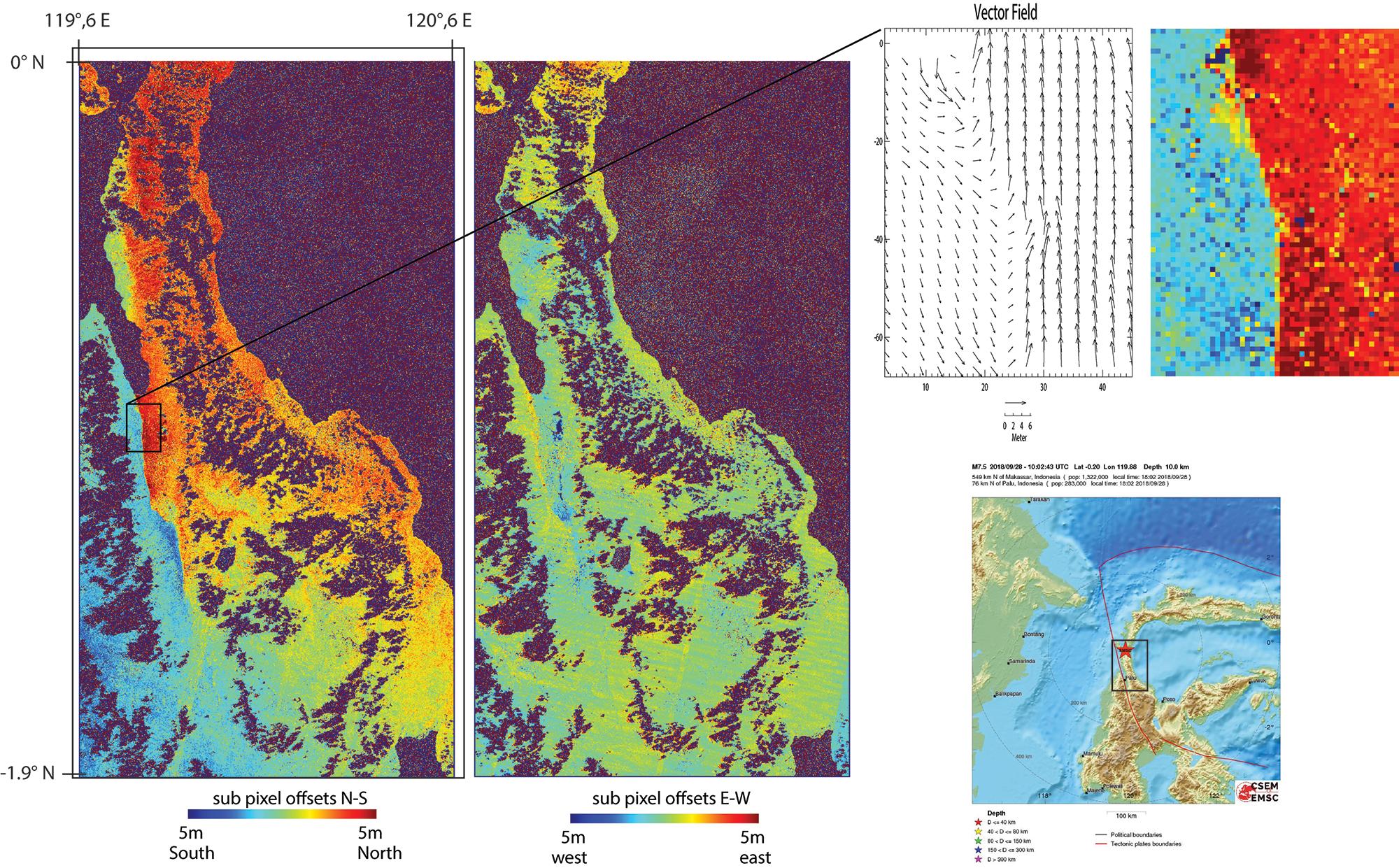 Soulawesi Earthquake (28 Sept. 2018, Mw 7,5) UCA-BRGM - Contains modified Copernicus Sentinel 2 data.